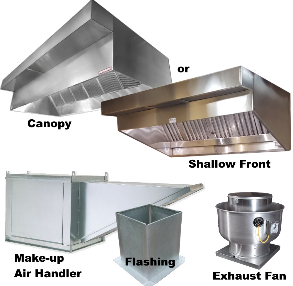 Kitchen Exhaust Design: Vent Hoods With Plenum, Exhaust Fan, Make-up Air Fan And