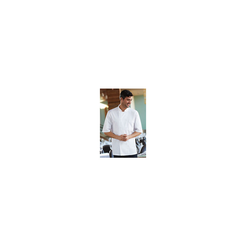 Chef Works JLCVWHTXL Unisex Montreal Cool Vent Short Sleeve Double-Breasted  Chef Coat with Cloth Covered Buttons - White / X-Large