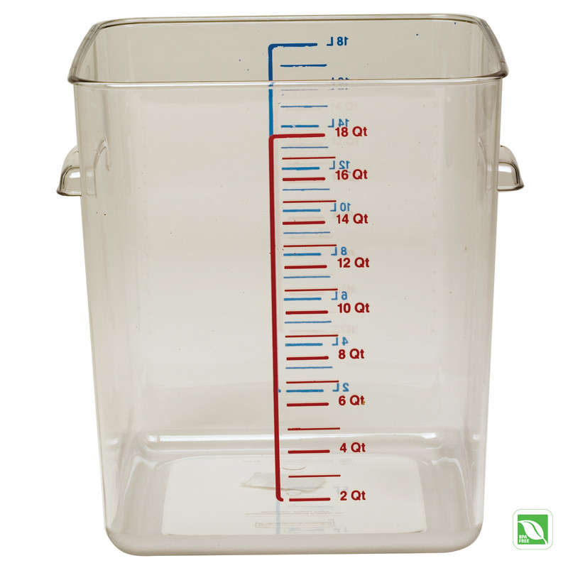 Rubbermaid FG632200CLR Plastic Space Saving Square Food Storage Container  With Liter And Qt. Gradations 22 Qt.   Crystal Clear |   Jeans Restaurant  Supply