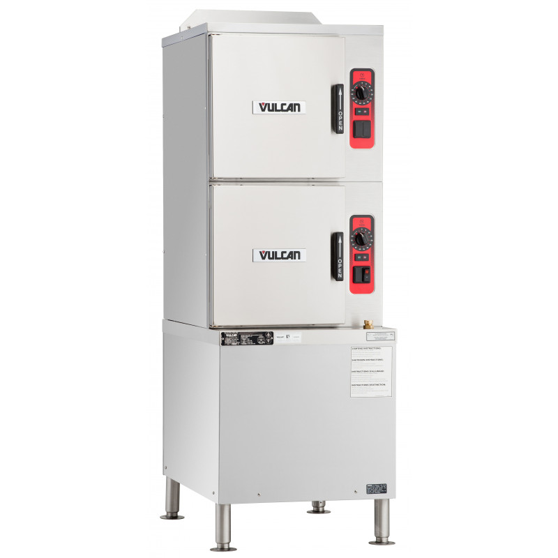 Vulcan C24GA10 NG Double Deck Full Size Natural Gas Convection Steamer W Basic Controls On Cabinet Base 10 Pan Cap 125 000 BTU