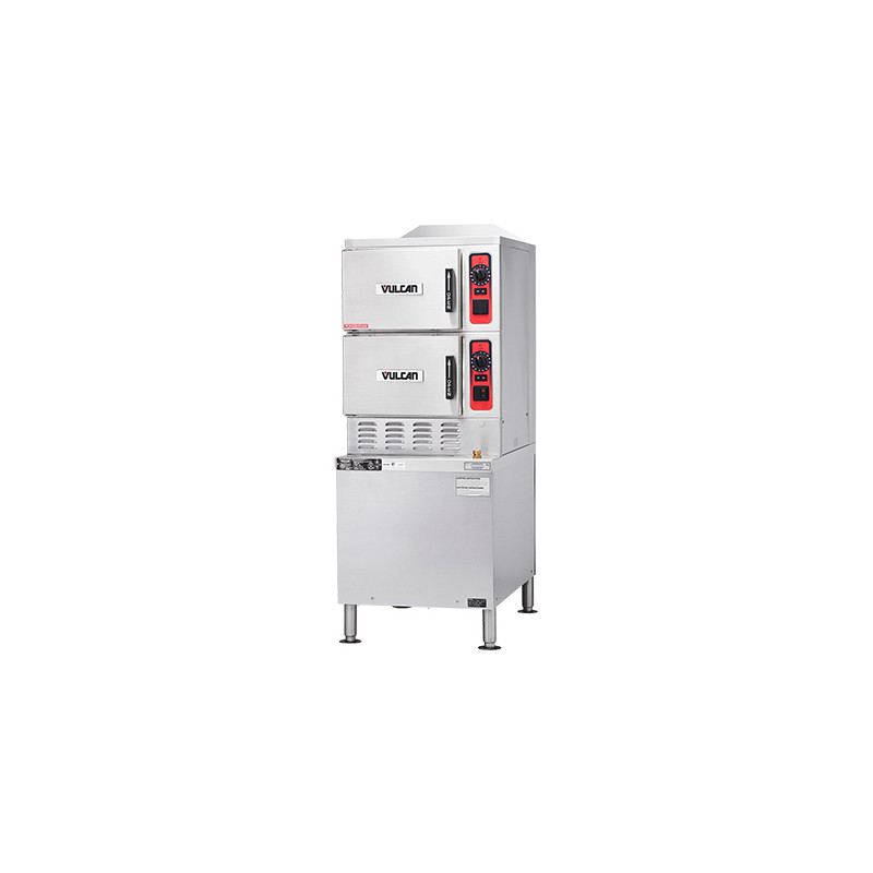 Vulcan C24GA6 PS NG PowerSteam Double Deck Half Size Natural Gas Convection Steamer W Professional Controls On Cabinet Base 6 Pan Cap 125 000 BTU