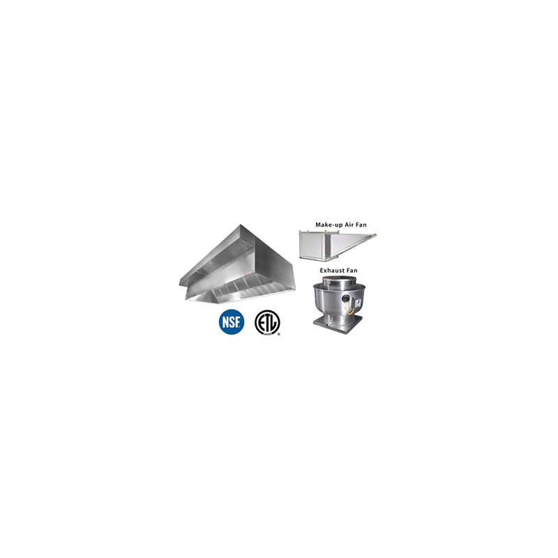 CAPVH11-PFF Commercial Vent Hood 11' - Canopy with Plenum, Exhaust Fan, and  Make-up Air Fan