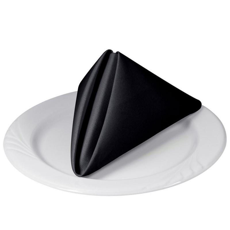 Tablecloth Co COTC17x17 BLACK Square Cottonique 100% Spun Polyester Napkins  17