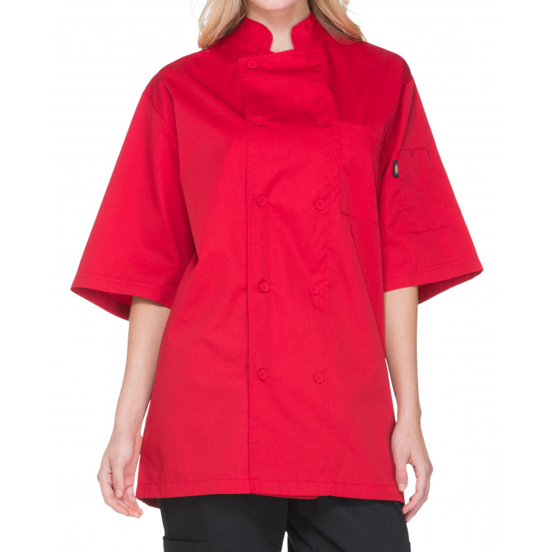 Dickies Chef DC412-RED-S Unisex Cool Breeze Short Sleeve Double-Breasted  Chef Jacket with Cloth Covered Buttons - Red / Small