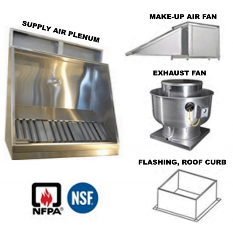 6' Jean's Shallow Front Vent Hood with Plenum, Exhaust Fan, Make-up Air Fan  and Flashing