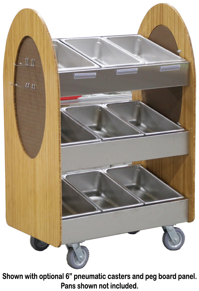 Lakeside 683 Stainless Steel/Laminate 3-Tier Display Merchandising Cart  with Rounded Sides 41
